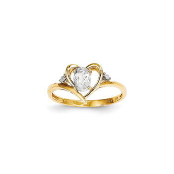 Girls Diamond Birthstone Heart Ring - Genuine White Topaz Birthstone with Diamond Accents - 14K Yellow Gold - SPECIAL ORDER - Size 5