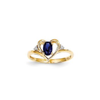 Girls Diamond Birthstone Heart Ring - Genuine Blue Sapphire Birthstone with Diamond Accents - 14K Yellow Gold - SPECIAL ORDER - Size 5