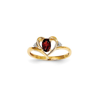 Girls Diamond Birthstone Heart Ring - Genuine Garnet Birthstone with Diamond Accents - 14K Yellow Gold - SPECIAL ORDER - Size 6