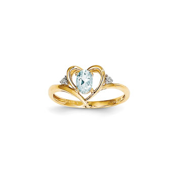 Girls Diamond Birthstone Heart Ring - Genuine Aquamarine Birthstone with Diamond Accents - 14K Yellow Gold - SPECIAL ORDER - Size 6