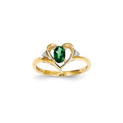 Girls Diamond Birthstone Heart Ring - Genuine Emerald Birthstone with Diamond Accents - 14K Yellow Gold - SPECIAL ORDER - Size 6/