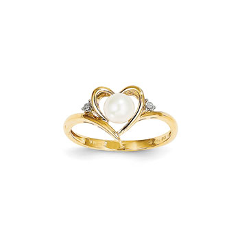 Girls Diamond Birthstone Heart Ring - Freshwater Cultured Pearl Birthstone with Diamond Accents - 14K Yellow Gold - SPECIAL ORDER - Size 6
