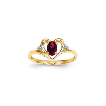 Girls Diamond Birthstone Heart Ring - Genuine Ruby Birthstone with Diamond Accents - 14K Yellow Gold - SPECIAL ORDER - Size 6