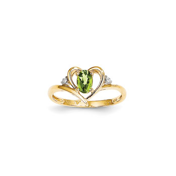 Girls Diamond Birthstone Heart Ring - Genuine Peridot Birthstone with Diamond Accents - 14K Yellow Gold - SPECIAL ORDER - Size 6
