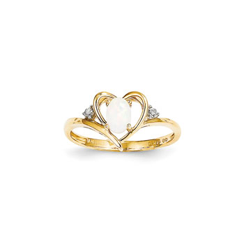 Girls Diamond Birthstone Heart Ring - Genuine Opal Birthstone with Diamond Accents - 14K Yellow Gold - Size 6