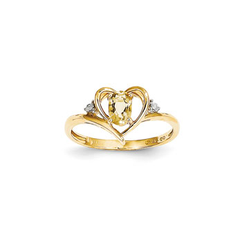 Girls Diamond Birthstone Heart Ring - Genuine Citrine Birthstone with Diamond Accents - 14K Yellow Gold - Size 6