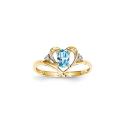 Girls Diamond Birthstone Heart Ring - Genuine Blue Topaz Birthstone with Diamond Accents - 14K Yellow Gold - Size 6/