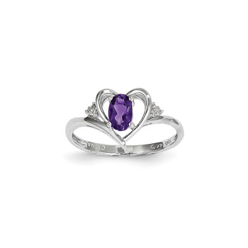 Girls Diamond Birthstone Heart Ring - Genuine Amethyst Birthstone with Diamond Accents - 14K White Gold - SPECIAL ORDER - Size 5