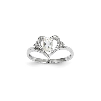 Girls Diamond Birthstone Heart Ring - Genuine White Topaz Birthstone with Diamond Accents - 14K White Gold - SPECIAL ORDER - Size 5