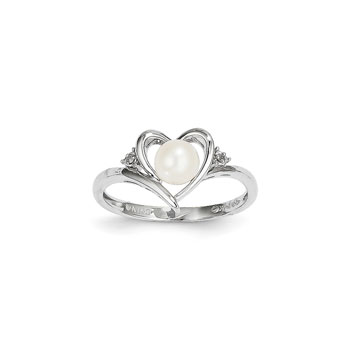 Girls Diamond Birthstone Heart Ring - Freshwater Cultured Pearl Birthstone with Diamond Accents - 14K White Gold - SPECIAL ORDER - Size 5