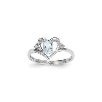 Girls Diamond Birthstone Heart Ring - Genuine Aquamarine Birthstone with Diamond Accents - 14K White Gold - SPECIAL ORDER - Size 6
