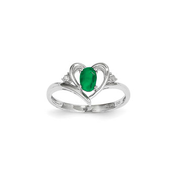 Girls Diamond Birthstone Heart Ring - Genuine Emerald Birthstone with Diamond Accents - 14K White Gold - SPECIAL ORDER - Size 6