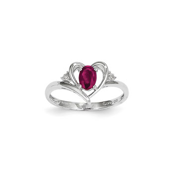 Girls Diamond Birthstone Heart Ring - Genuine Ruby Birthstone with Diamond Accents - 14K White Gold - SPECIAL ORDER - Size 6