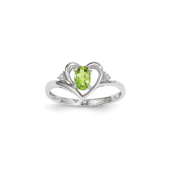 Girls Diamond Birthstone Heart Ring - Genuine Peridot Birthstone with Diamond Accents - 14K White Gold - SPECIAL ORDER - Size 6