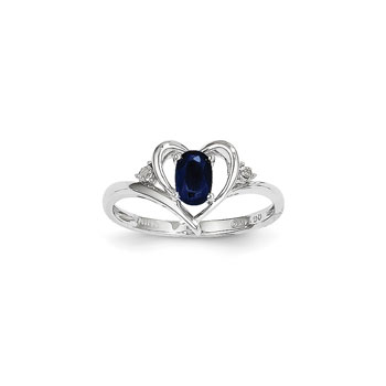 Girls Diamond Birthstone Heart Ring - Genuine Blue Sapphire Birthstone with Diamond Accents - 14K White Gold - SPECIAL ORDER - Size 6