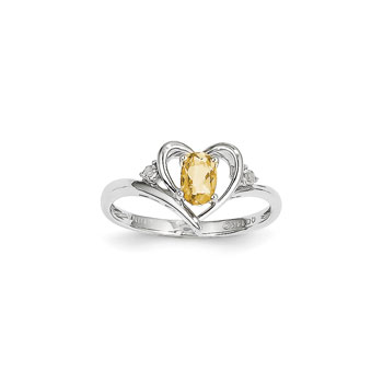 Girls Diamond Birthstone Heart Ring - Genuine Citrine Birthstone with Diamond Accents - 14K White Gold - Size 6