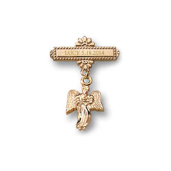 Guardian Angel - 14K Yellow Gold-Filled Religious Christening Pin - Brooch Jewelry for Baby - BEST SELLER/