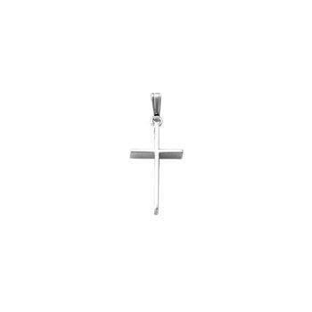"Elegant Christian Cross Necklace for Girls and Baby Boys - 14K White Gold  - Includes 15"" 14K White Gold Chain"