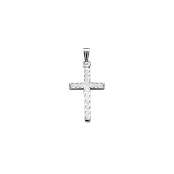 "Elegant Hand-Engraved Christian Cross Necklace for Girls and Boys - Sterling Silver Rhodium  - Includes 15"" chain"