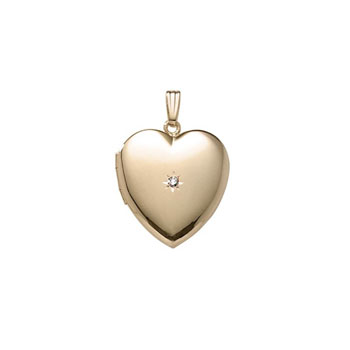"Elegant 2-Point Genuine Diamond 19mm Heart Photo Locket - 14K Yellow Gold Filled - Engravable on back - 20"" chain included - BEST SELLER"