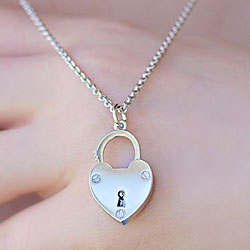 Unlock the Love in Her Heart - Girls Heart Lock Necklace – Lock Opens and Closes - Sterling Silver Rhodium - Includes a 14