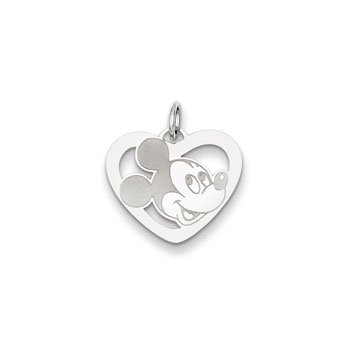 Disney Mickey Mouse Charm / Pendant (Small) – Sterling Silver Rhodium - Engravable on back - Add to a bracelet or necklace