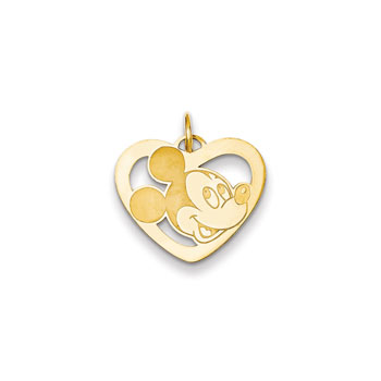 Disney Mickey Mouse Charm / Pendant (Small) – 14K Yellow Gold - Engravable on back - Add to a bracelet or necklace