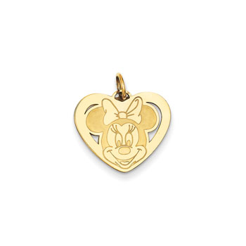 Disney Minnie Mouse Charm / Pendant (Small) – 14K Yellow Gold - Engravable on back - Add to a bracelet or necklace