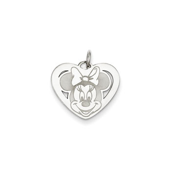 Disney Minnie Mouse Charm / Pendant (Small) – 14K White Gold - Engravable on back - Add to a bracelet or necklace