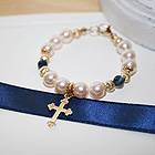 Christened with Love, Blessed in Faith™ by My First Pearls® – 14K yellow gold – Grow-With-Me® designer original freshwater cultured pearl bracelet – Personalize with gemstones & charms