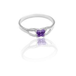 Teeny Tiny Butterfly Ring for Girls by Bfly® - February Amethyst CZ Birthstone - Sterling Silver Rhodium - Size 4/