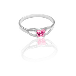 Teeny Tiny Butterfly Ring for Girls by Bfly® - October Pink Tourmaline CZ Birthstone - Sterling Silver Rhodium - Size 4/