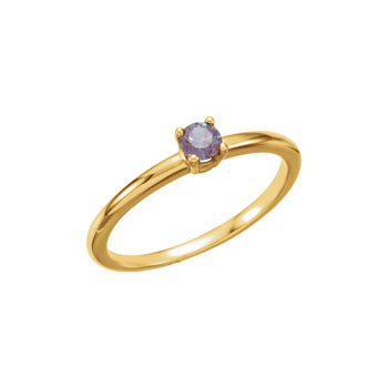Adorable High-Quality June Birthstone Rings for Girls - 3mm Created Alexandrite Gemstone - 14K Yellow Gold Toddler / Grade School Girl Ring - Size 3 - BEST SELLER