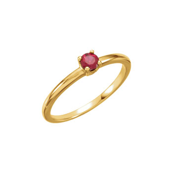 Adorable High-Quality July Birthstone Rings for Girls - 3mm Created Ruby Gemstone - 14K Yellow Gold Toddler / Grade School Girl Ring - Size 3 - BEST SELLER