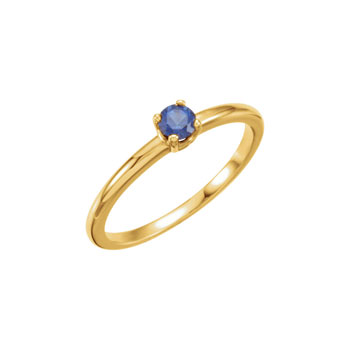 Adorable High-Quality September Birthstone Rings for Girls - 3mm Created Blue Sapphire Gemstone - 14K Yellow Gold Toddler / Grade School Girl Ring - Size 3 - BEST SELLER