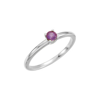 Adorable High-Quality February Birthstone Rings for Girls - 3mm Genuine Amethyst Gemstone - 14K White Gold Toddler / Grade School Girl Ring - Size 3 - BEST SELLER