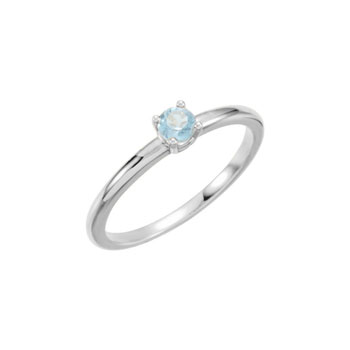 Adorable High-Quality March Birthstone Rings for Girls - 3mm Genuine Aquamarine Gemstone - 14K White Gold Toddler / Grade School Girl Ring - Size 3 - BEST SELLER