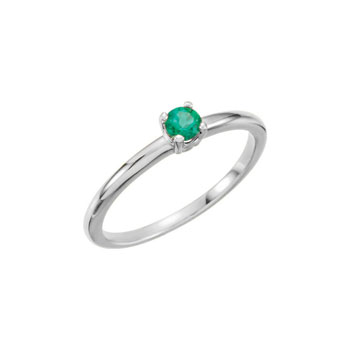 Adorable High-Quality May Birthstone Rings for Girls - 3mm Created Emerald Gemstone - 14K White Gold Toddler / Grade School Girl Ring - Size 3 - BEST SELLER