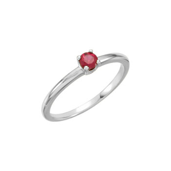 Adorable High-Quality July Birthstone Rings for Girls - 3mm Created Ruby Gemstone - 14K White Gold Toddler / Grade School Girl Ring - Size 3 - BEST SELLER