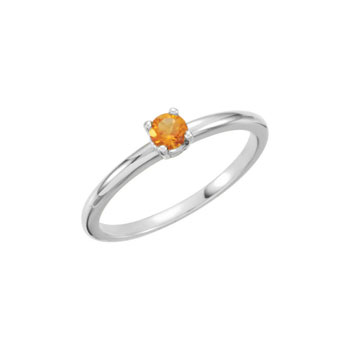 Adorable High-Quality November Birthstone Rings for Girls - 3mm Genuine Citrine Gemstone - 14K White Gold Toddler / Grade School Girl Ring - Size 3 - BEST SELLER