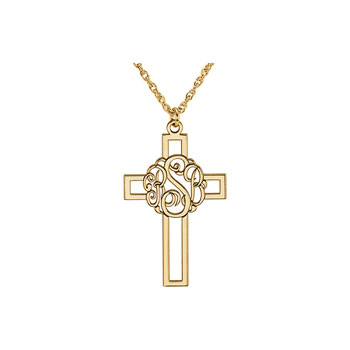 Gorgeous Monogram Cross Pendant Necklace - 14K Yellow Gold - Chain included - Special Order - Estimated to ship in 21 - 28 days