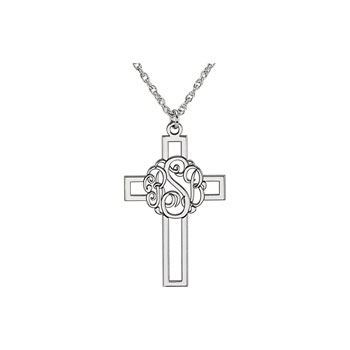 Gorgeous Monogram Cross Pendant Necklace - Sterling Silver Rhodium - Chain included - Special Order - Estimated to ship in 21 - 28 days