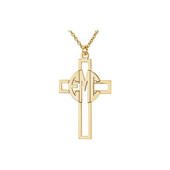 Monogram Cross Pendant Necklace - 14K Yellow Gold - 1.5mm cable chain included - Special Order - Estimated to ship in 21 - 28 days
