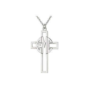 Monogram Cross Pendant Necklace - 14K White Gold - 1.5mm cable chain included - Special Order - Estimated to ship in 21 - 28 days