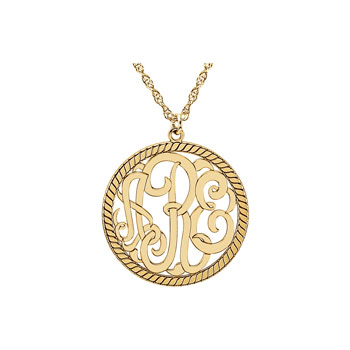 Circle Monogram Medium Round 25mm Rope Pendant Necklace - 14K Yellow Gold - Chain included - Special Order