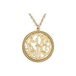 Circle Monogram Medium Round 25mm Rope Pendant Necklace - 14K Yellow Gold - Chain included - Special Order/