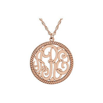 Circle Monogram Medium Round 25mm Rope Pendant Necklace - 14K Rose Gold - Chain included - Special Order