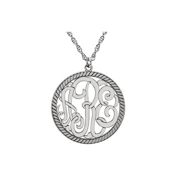 Circle Monogram Medium Round 25mm Rope Pendant Necklace - Sterling Silver Rhodium - Chain included - Special Order