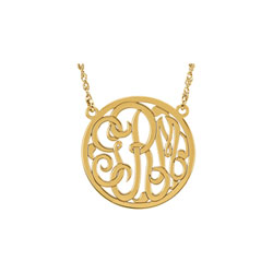 Girls Medium 25mm Round Script Monogram Pendant Necklace - 14K Yellow Gold - Chain included - Special Order/