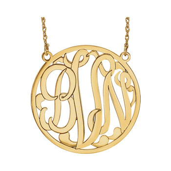 Large 40mm Round Script Monogram Pendant Necklace - 14K Yellow Gold - Chain included - Special Order